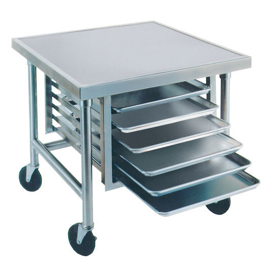 "Advance Tabco MT-MS-303 36"" Mixer Table w/ All Stainless Pan Slide Base, Mobile, 30""D"