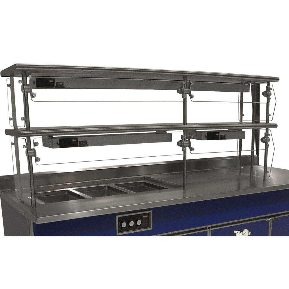 "Advance Tabco NDSG-18-132 Self Service Food Shield - 2 Tier, 18x132x26"", Stainless Top Shelf"