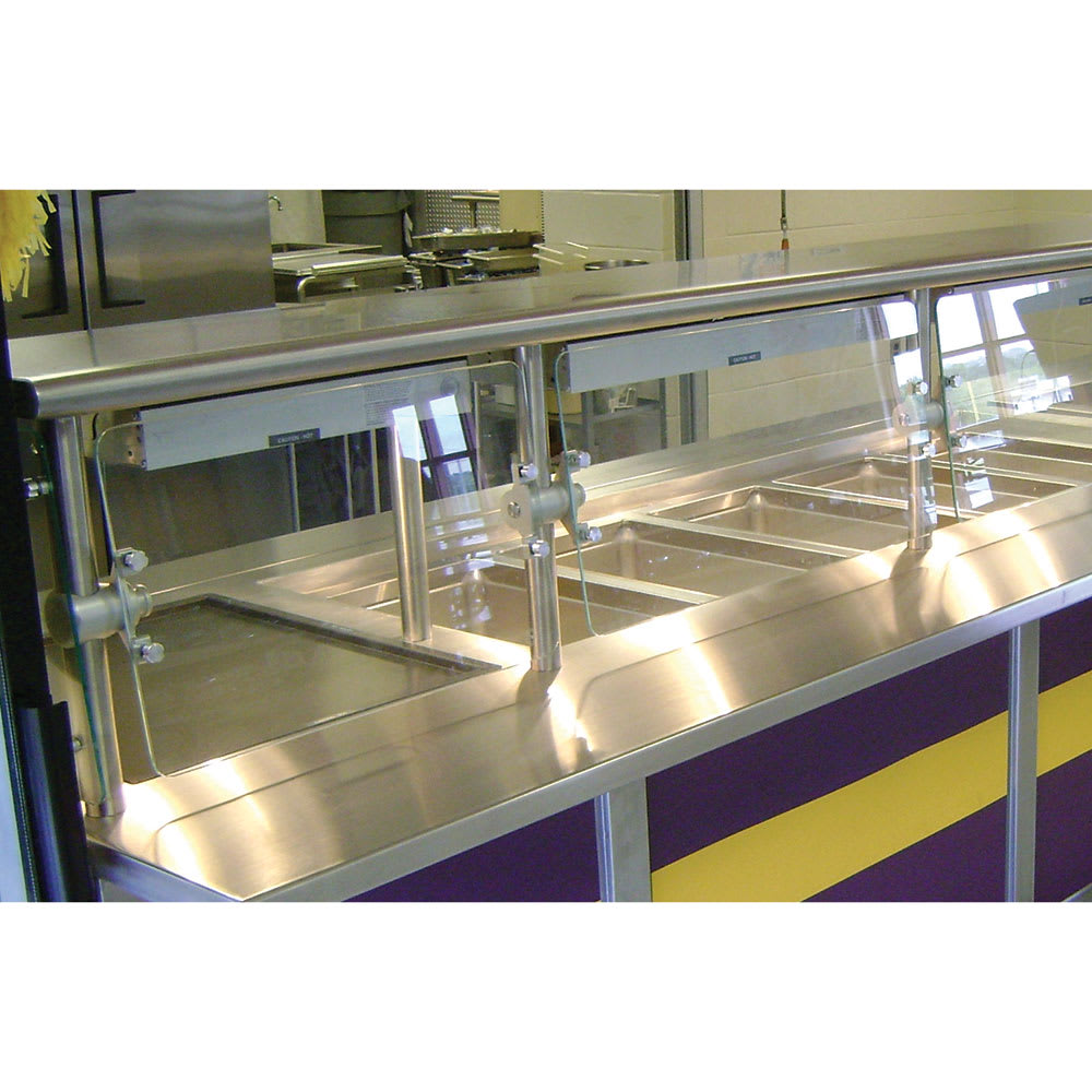 "Advance Tabco NSGC-15-120 Cafeteria Style Food Shield - 15x120x18"", Stainless Top Shelf"