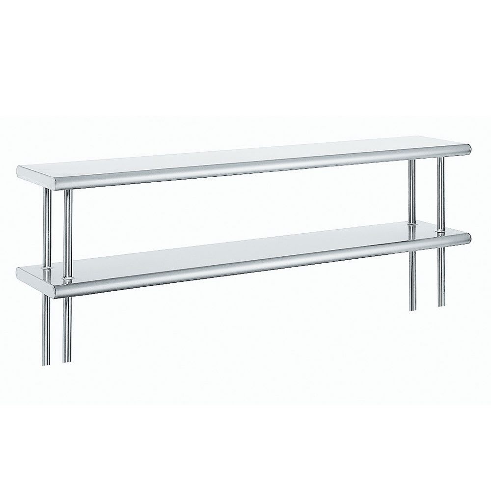 "Advance Tabco ODS-12-132R 132"" Old Style Table Mount Shelf - 2-Deck, Rear Turn Up, 12"" W, 18-ga 430-Stainless"