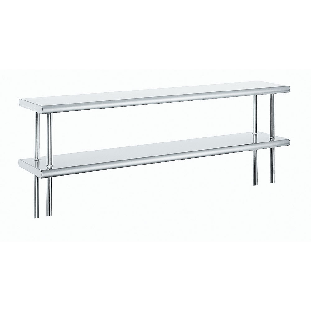 "Advance Tabco ODS-15-96R 96"" Old Style Table Mount Shelf - 2 Deck, Rear Turn Up, 15"" W, 18 ga 430 Stainless"