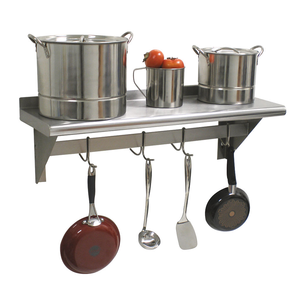 """Advance Tabco PS-12-36 36"""" Solid Wall Mounted Shelving w/ Pot Rack"""