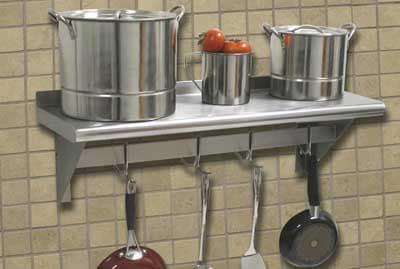 "Advance Tabco PS1236RE 36"" Residential Shelf w/ Pot Rack - 6-Hooks, 12"" W, 18-ga 430-Stainless"