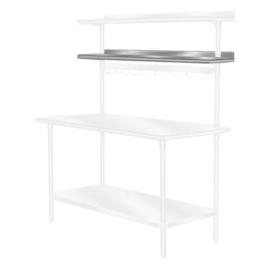 """Advance Tabco PT-10R-120 120"""" Table Mount Shelf - 1-Deck, Rear-Mount, 10"""" W, Stainless"""