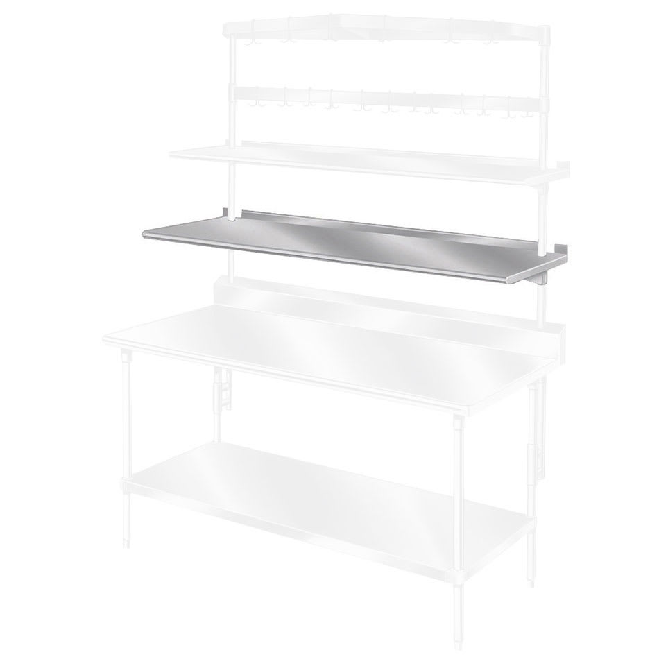 "Advance Tabco PT-10S-132 132"" Table Mount Shelf - 1 Deck, Splash-Mount, 10"" W, Stainless"