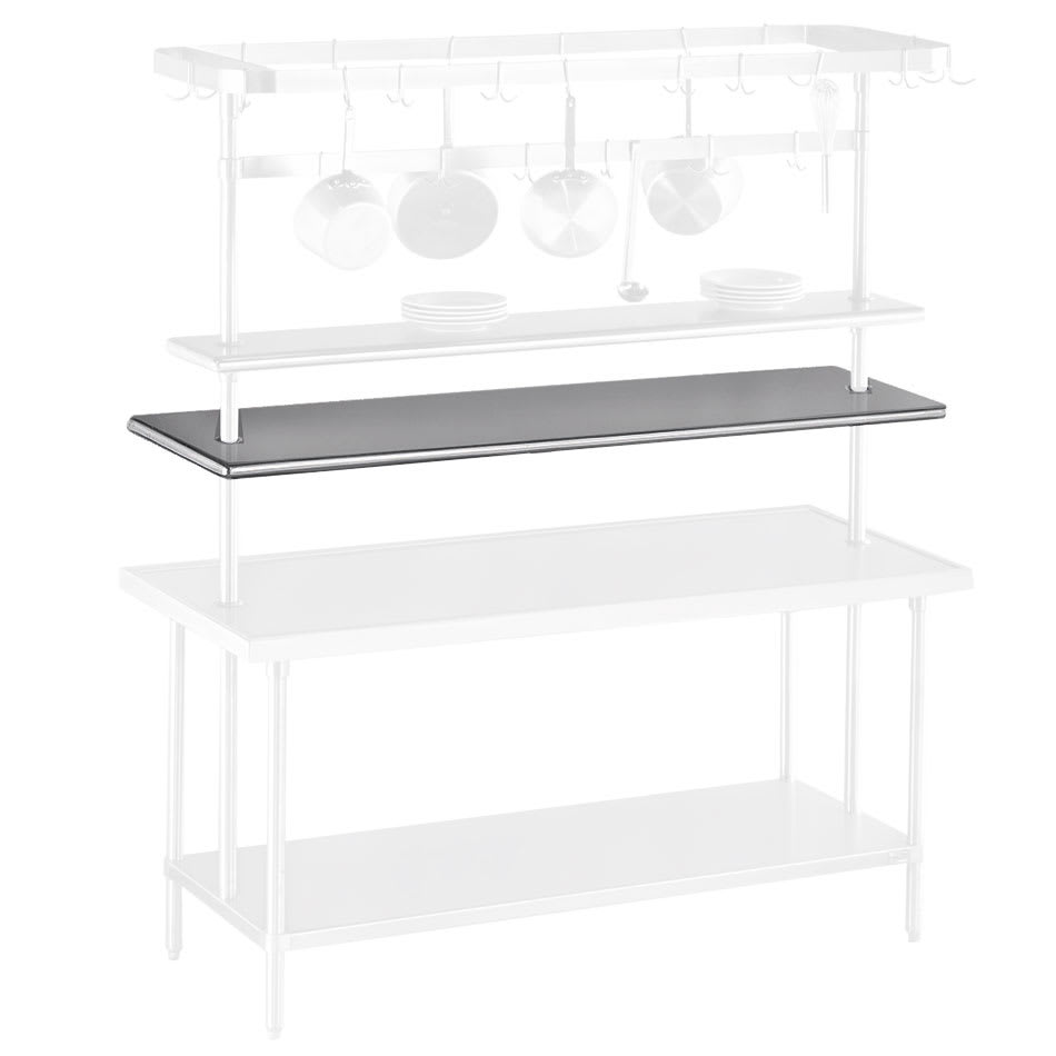"""Advance Tabco PT-12-144 144"""" Table Mount Shelf - 1-Deck, Mid-Mount, 12"""" W, Stainless"""