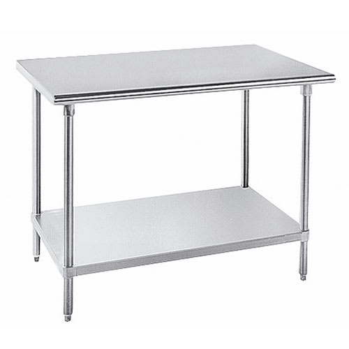 "Advance Tabco SAG-3011 132"" 16 ga Work Table w/ Undershelf & 430 Series Stainless Flat Top"