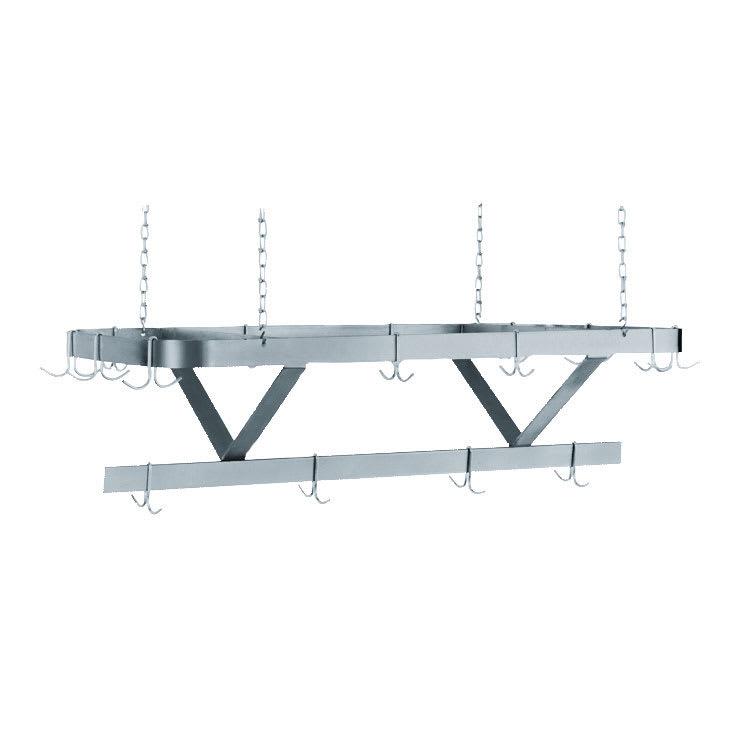 "Advance Tabco SC-132 132"" Ceiling-Mount Pot Rack w/ (18) Double Hooks, Steel"