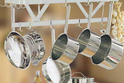 "Advance Tabco SC-48RE 48"" Residential Ceiling Hung Pot Rack - (18) Double Hooks, Stainless"