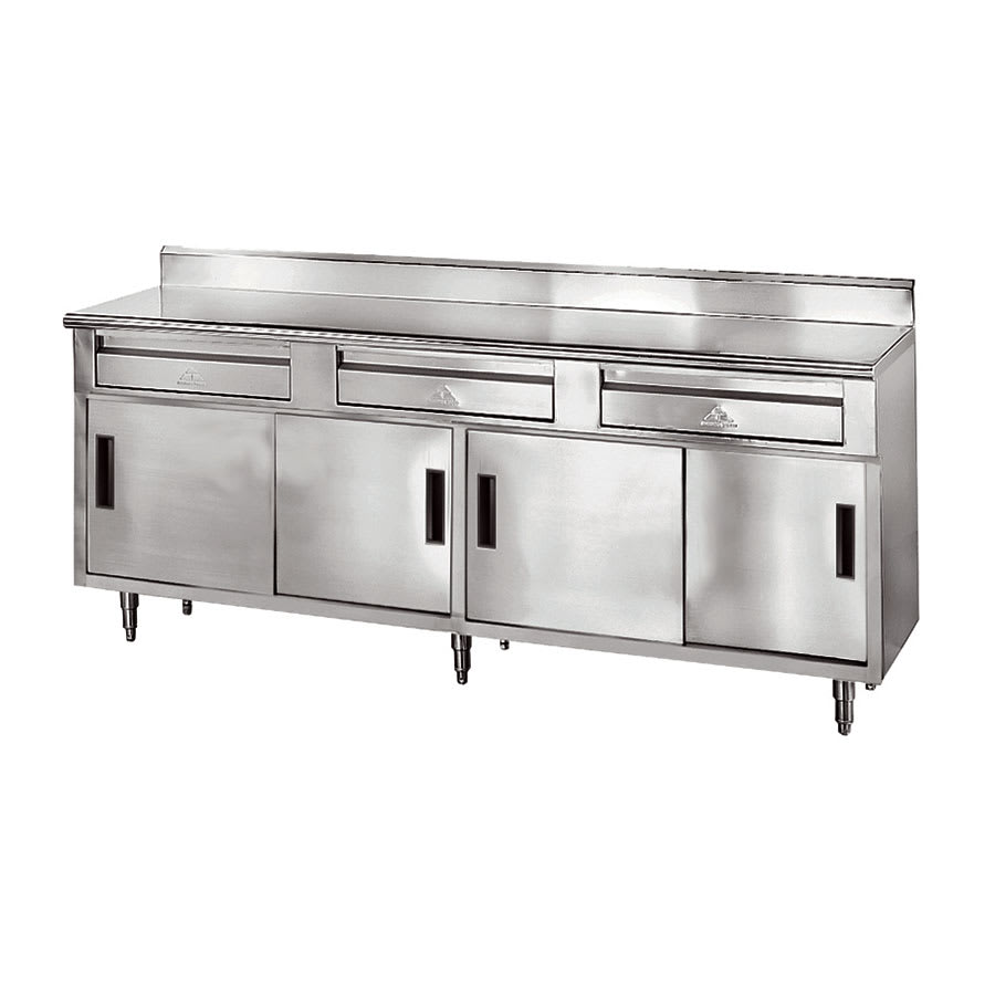 "Advance Tabco SDRC-306 72"" Enclosed Work Table w/ Sliding Doors & 5"" Backsplash, 30""D"