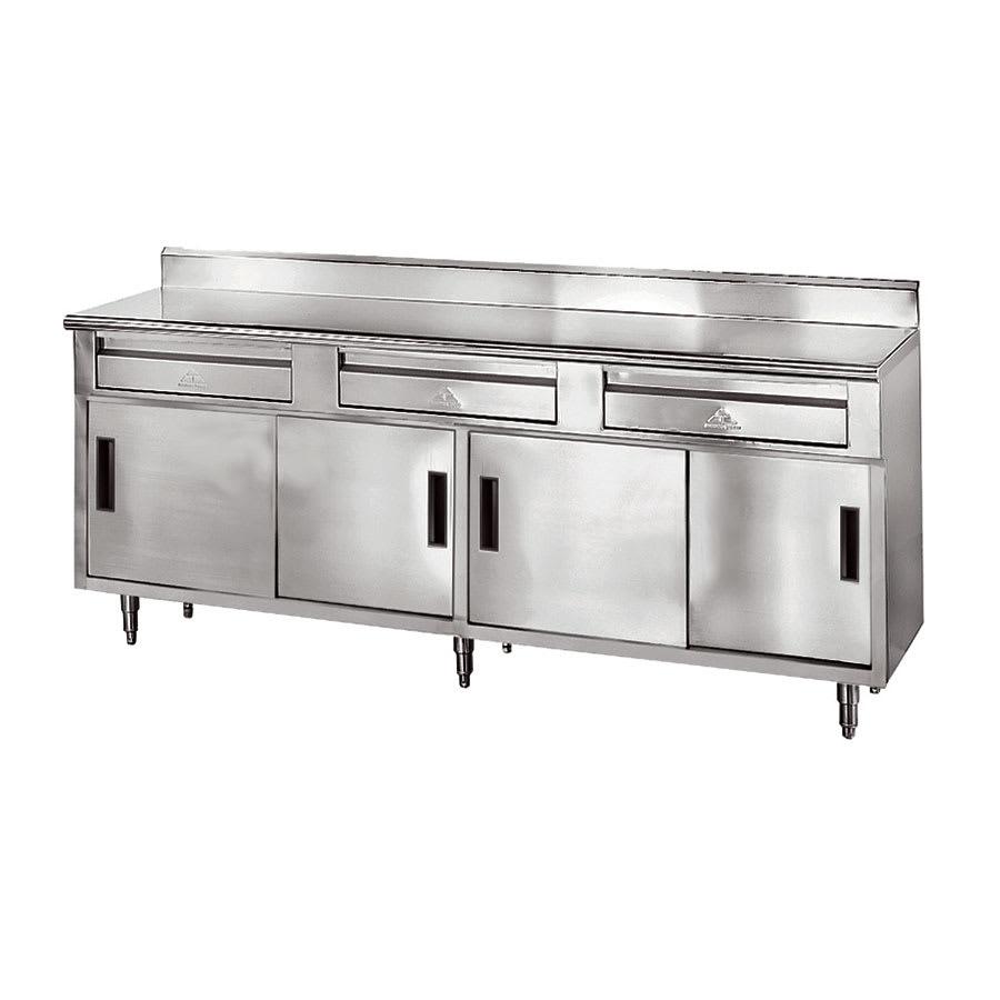 "Advance Tabco SDRC-307 84"" Enclosed Work Table w/ Sliding Doors & 5"" Backsplash, 30""D"