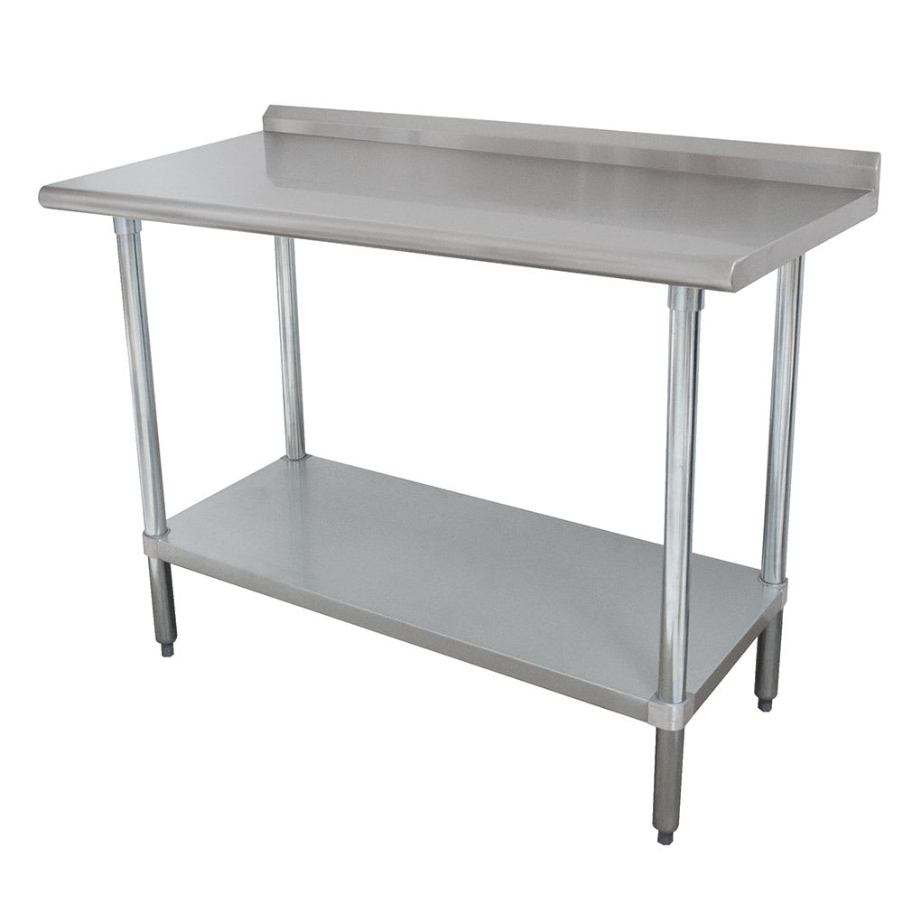 "Advance Tabco SFLAG-248 96"" 16-ga Work Table w/ Undershelf & 430-Series Stainless Top, 1.5"" Backsplash"