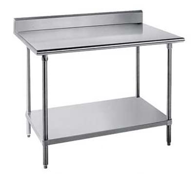 "Advance Tabco SKG-244RE 48"" Chef Table - 5"" Backsplash, Bullet Feet, 24"" W, 16-ga 430-Stainless"