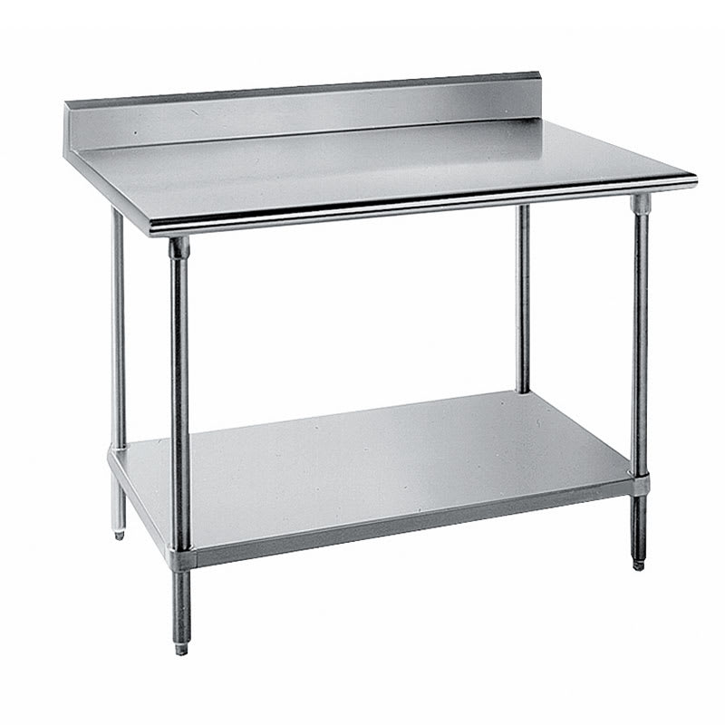 "Advance Tabco SKG-368 96"" 16 ga Work Table w/ Undershelf & 430 Series Stainless Top, 5"" Backsplash"