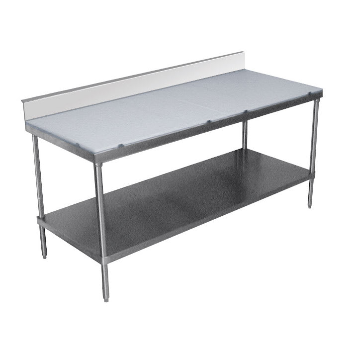 "Advance Tabco SPS-308 96"" Poly Top Work Table w/  6"" Backsplash & 5/8"" Top, Stainless Base, 30""D"