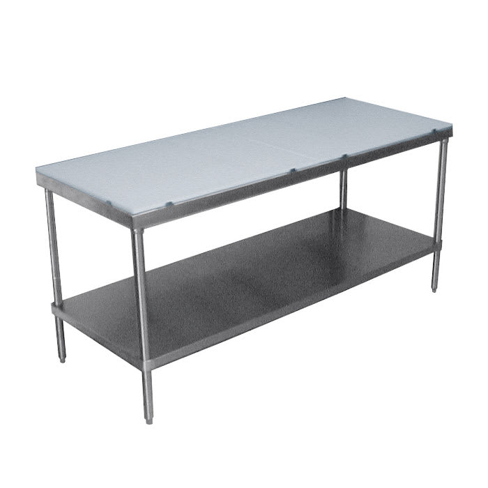 "Advance Tabco SPT-2410 120"" Poly Top Work Table w/  5/8"" Top, Stainless Base, 24""D"