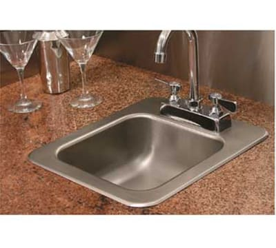 "Advance Tabco SS-1-1715-5RE Residential Drop-In Sink - (1) 14x10x5"" Bowl, 18-ga 304-Stainless"