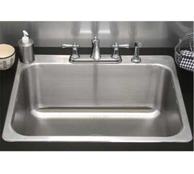 "Advance Tabco SS-1-1919-12RE Residential Drop-In Sink - (1) 16x14x12"" Bowl, 18-ga 304-Stainless"
