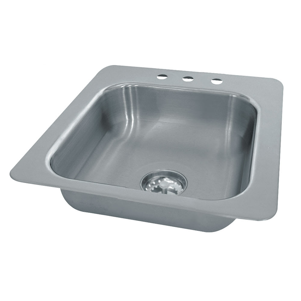 "Advance Tabco SS-1-1919-7 (1) Compartment Drop-in Sink - 16"" x 14"", Drain Included"
