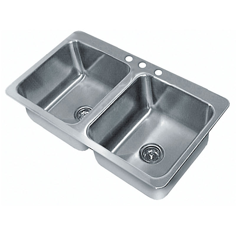 "Advance Tabco SS-2-3321-10RE Residential Drop-In Sink - (2) 14x16x10"" Bowl, 18-ga 304-Stainless"