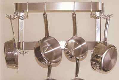 "Advance Tabco SW-60RE 60"" Residential Wall Mount Pot Rack - 18-Double Hooks, Double Bar, Stainless"