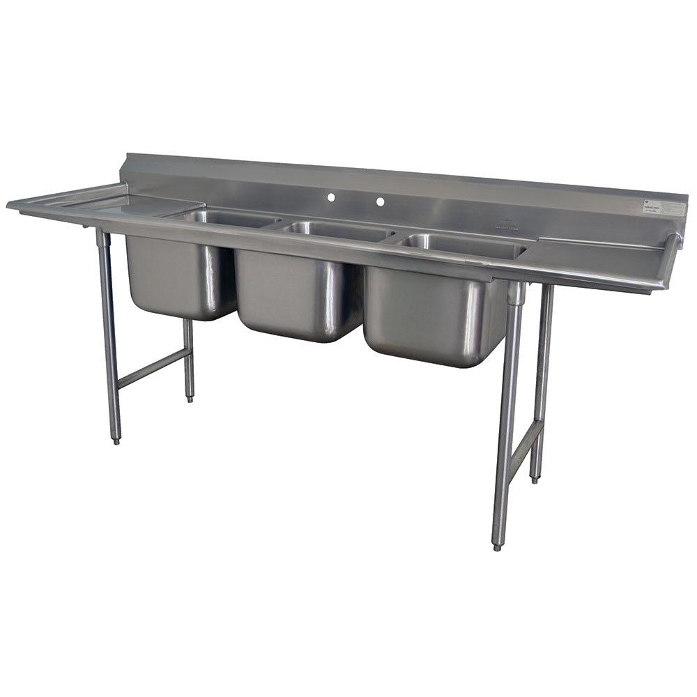"""Advance Tabco T9-23-60-18RL-X 72"""" 3-Compartment Sink w/ 16""""L x 20""""W Bowl, 12"""" Deep"""