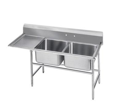 Advance Tabco T9-2-36-18L 58-in Sink w/ (2) 20x16x12-in Bowl & 18-in L Drainboard, Galvanized Frame