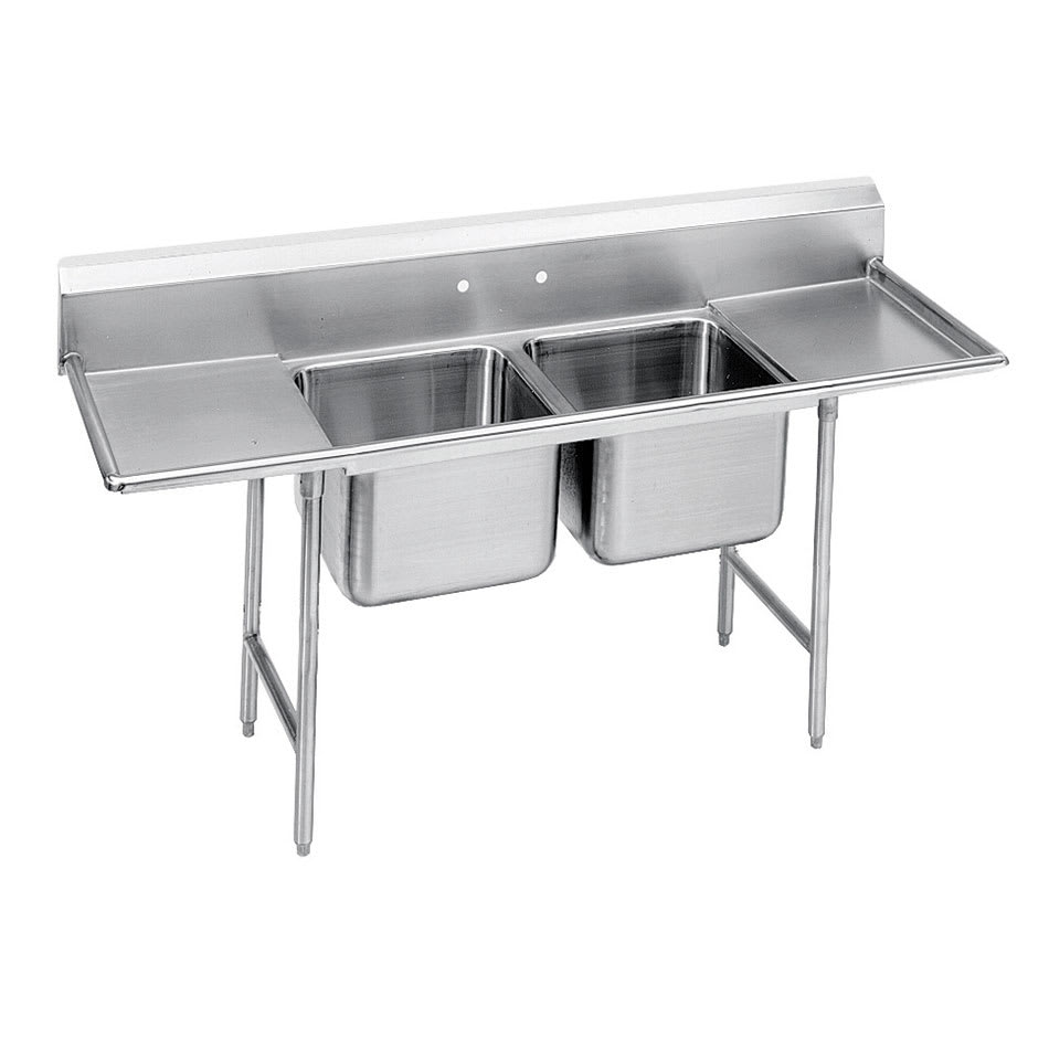 "Advance Tabco T9-2-36-18RL-X 44"" 2-Compartment Sink w/ 16""L x 20""W Bowl, 12"" Deep"