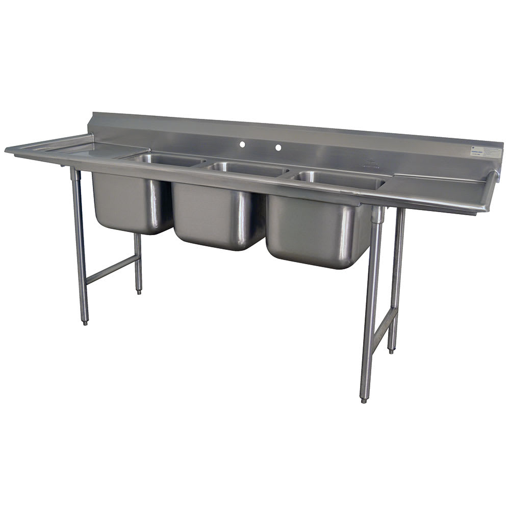 "Advance Tabco T9-3-54-18RL 62"" 3 Compartment Sink w/ 16""L x 20""W Bowl, 12"" Deep"