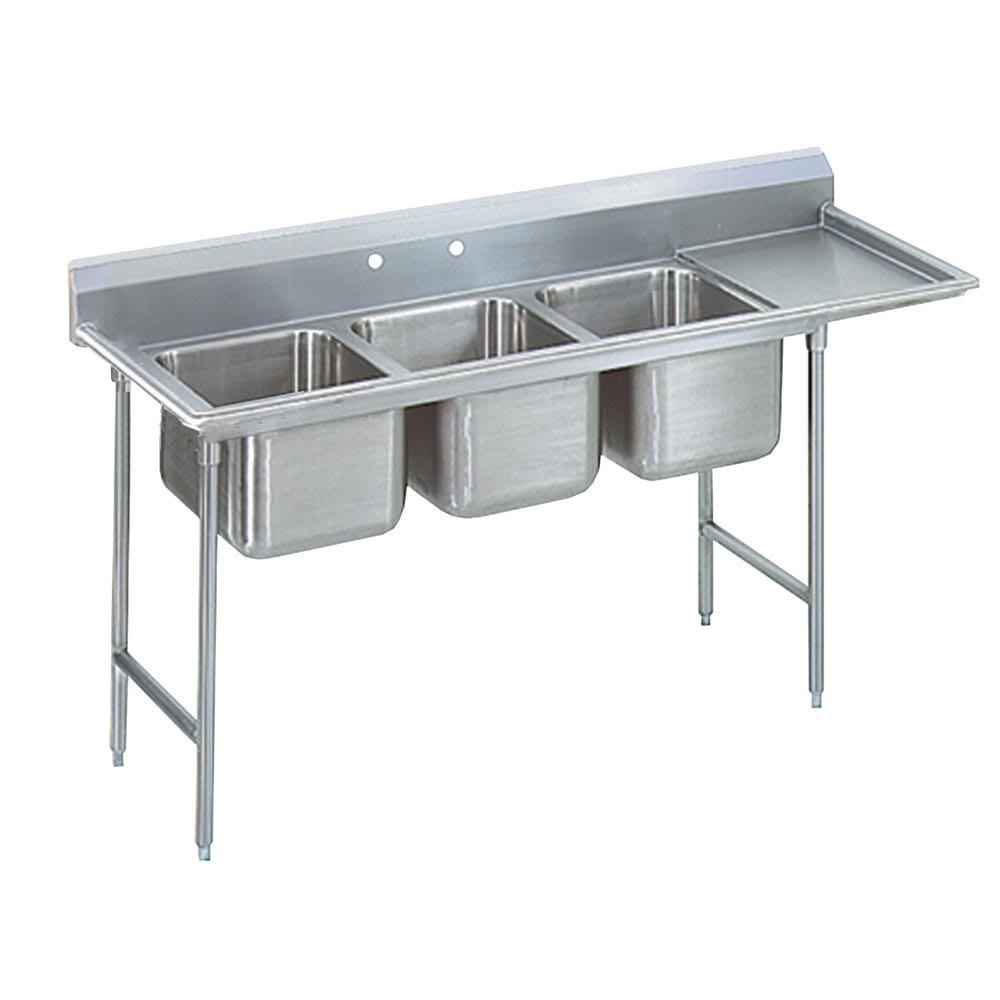 """Advance Tabco T9-3-54-18R 77"""" 3 Compartment Sink w/ 16""""L x 20""""W Bowl, 12"""" Deep"""