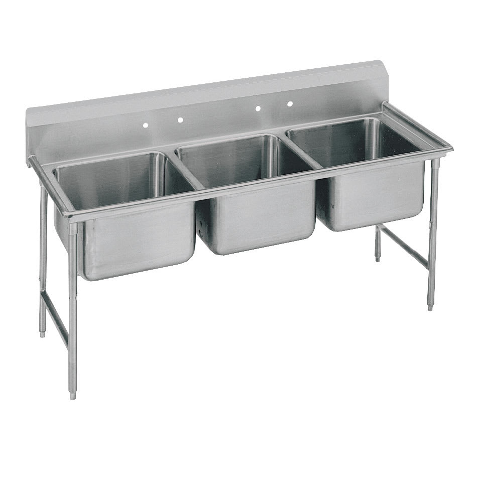 "Advance Tabco T9-3-54 77"" 3 Compartment Sink w/ 16""L x 20""W Bowl, 12"" Deep"