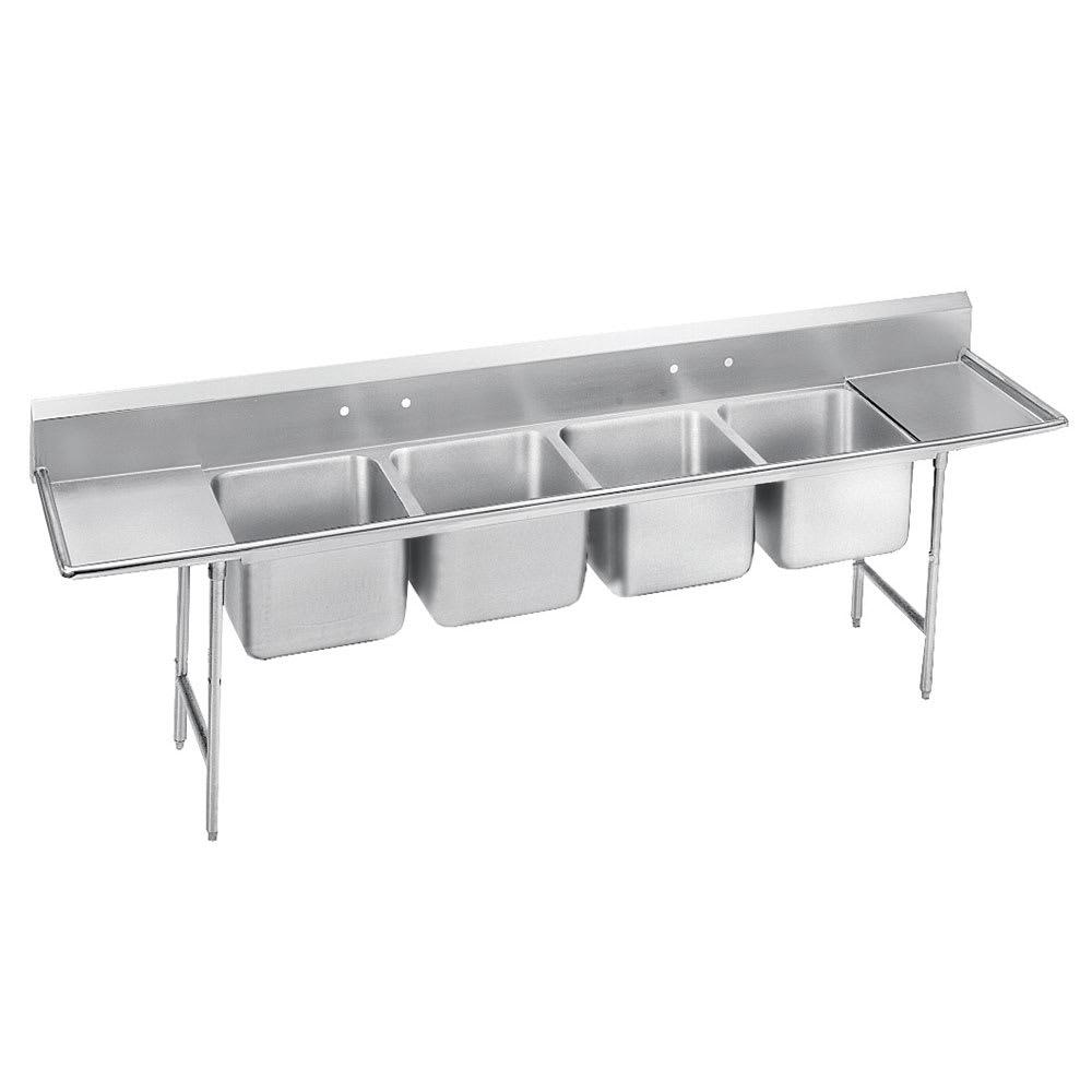 """Advance Tabco T9-4-72-18RL-X 110"""" 4-Compartment Sink w/ 16""""L x 20""""W Bowl, 12"""" Deep"""
