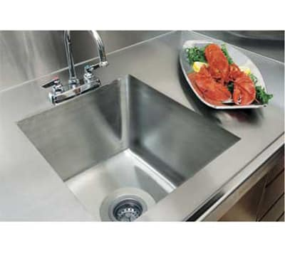 Advance Tabco TA11C2RE Double Integral Sink for Stainless Countertops, 20x20x8