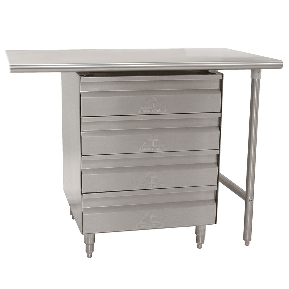 """Advance Tabco TA-384 Drawers, 4 Tier, 20x20x5"""", Installed Under Worktable, SS"""