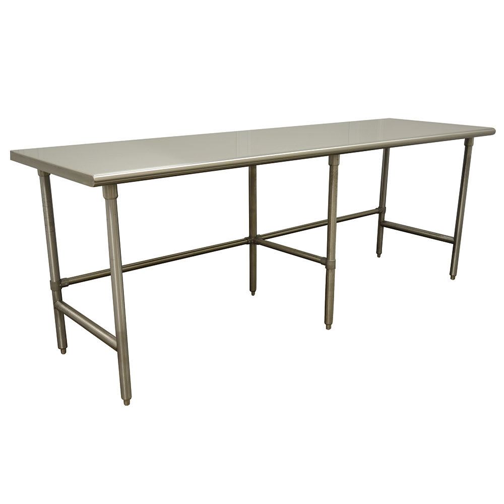 """Advance Tabco TAG-2412 144"""" 16 ga Work Table w/ Open Base & 430 Series Stainless Flat Top"""