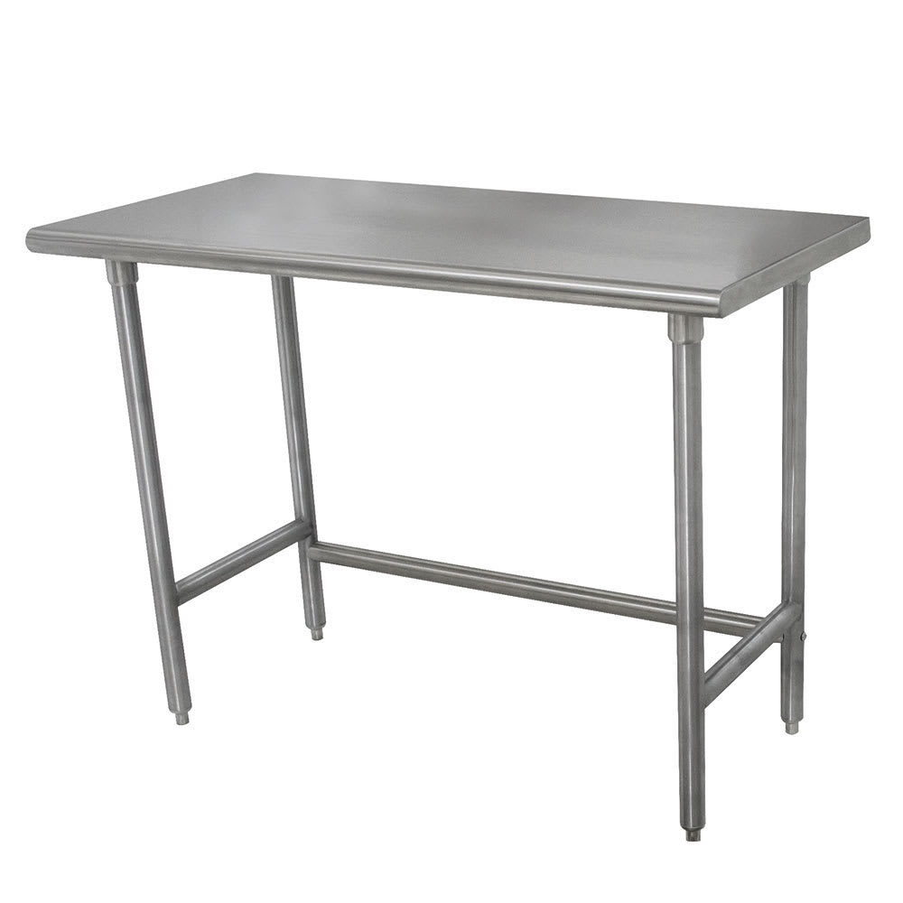 "Advance Tabco TELAG-308 96"" 16 ga Work Table w/ Open Base & 430 Series Stainless Steel Flat Top"