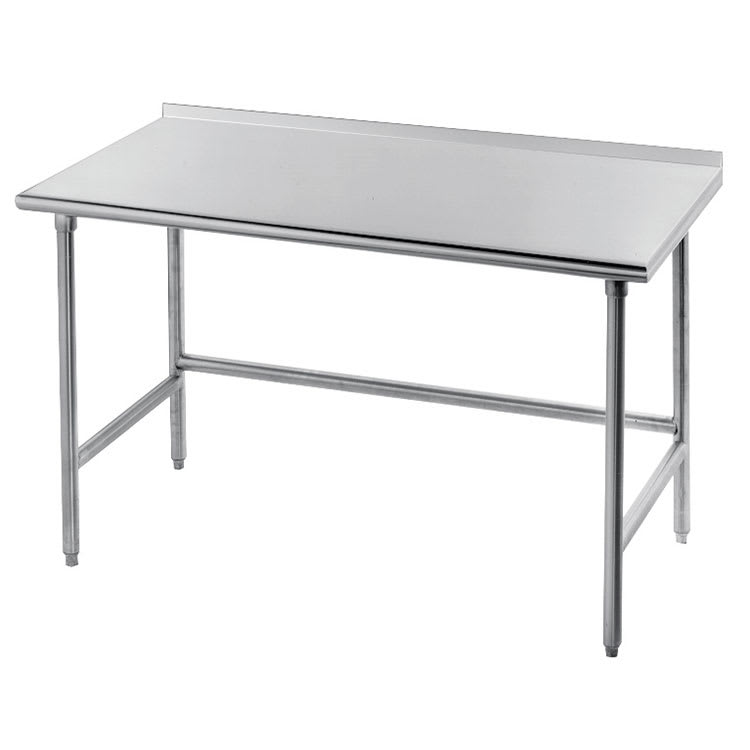 "Advance Tabco TFMG-308 96"" 16-ga Work Table w/ Open Base & 304-Series Stainless Top, 1.5"" Backsplash"