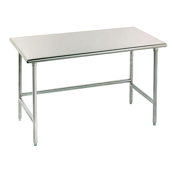 """Advance Tabco TGLG-3610 120"""" 14-ga Work Table w/ Open Base & 304-Series Stainless Flat Top"""