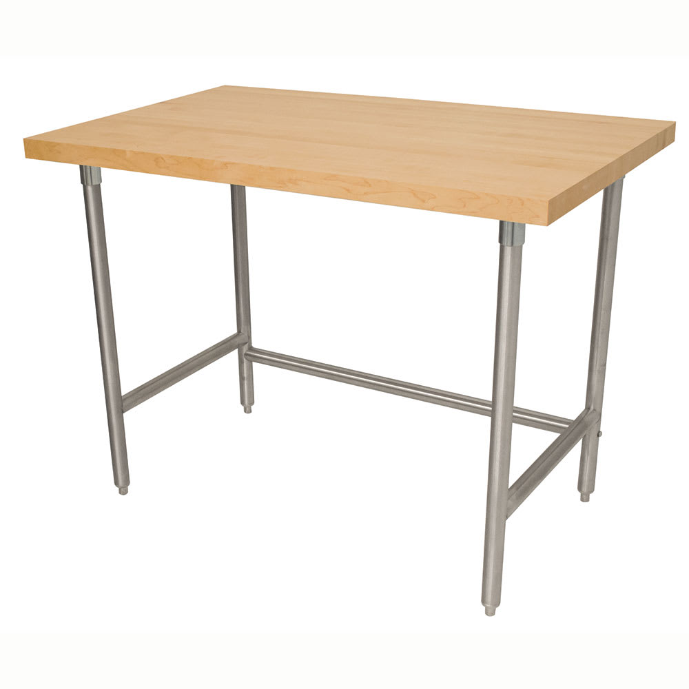 "Advance Tabco TH2S-307 1.75"" Maple Top Work Table w/ Open Base, 84""L x 30""D"