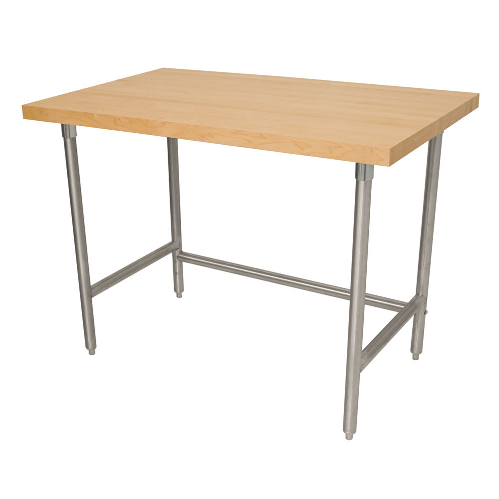 "Advance Tabco TH2S-308RE 96"" Residential Work Table - 1.75"" Wood Top, Open Base, 30"" W, Stainless"