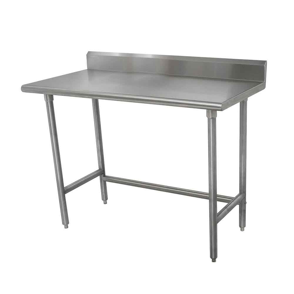 "Advance Tabco TKMSLAG-248 96"" 16 ga Work Table w/ Open Base & 304 Series Stainless Top, 5"" Backsplash"
