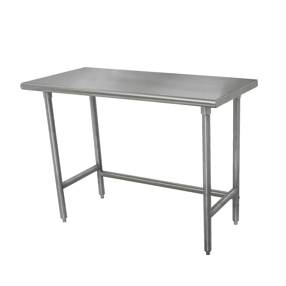 """Advance Tabco TMSLAG-306 72"""" 16 ga Work Table w/ Open Base & 304 Series Stainless Flat Top"""