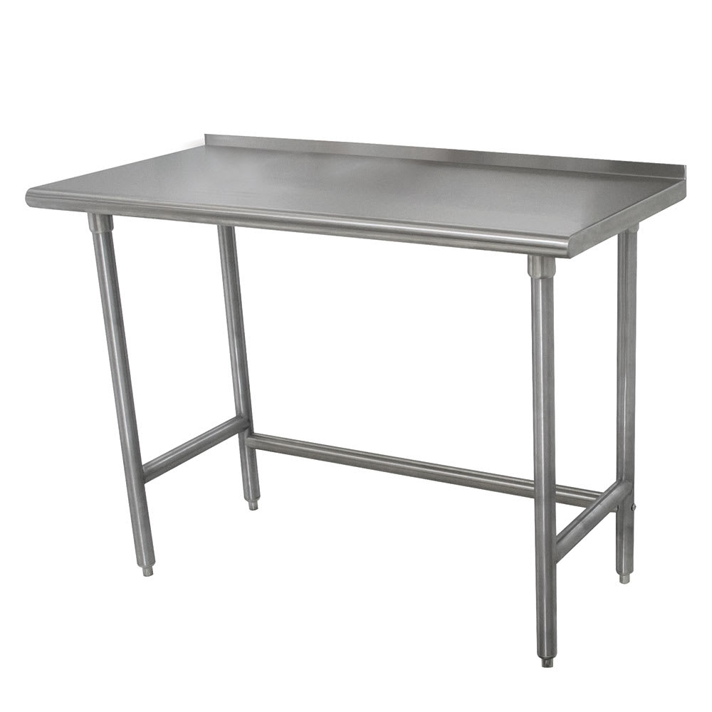 "Advance Tabco TSFLAG-306 72"" 16 ga Work Table w/ Open Base & 430 Series Stainless Steel Top, 1.5"" Backsplash"