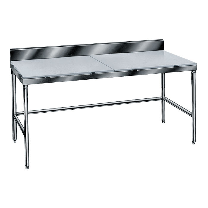 """Advance Tabco TSPS-247 84"""" Poly Top Work Table w/  6"""" Backsplash & 5/8"""" Top, Stainless Base, 24""""D"""