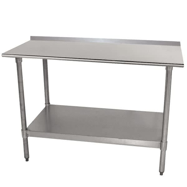 "Advance Tabco TTF-307-X 84"" 18-ga Work Table w/ Undershelf & 430-Series Stainless Top, 1.5"" Backsplash"