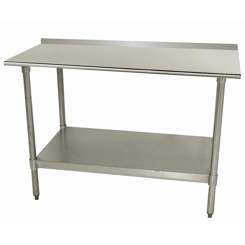 "Advance Tabco TTF-308 96"" 18-ga Work Table w/ Undershelf & 430-Series Stainless Top, 1.5"" Backsplash"