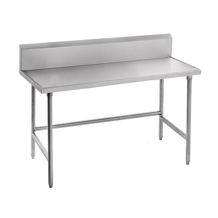 "Advance Tabco TVKG-248 96"" 14-ga Work Table w/ Open Base & 304-Series Stainless Marine Top, 10"" Backsplash"