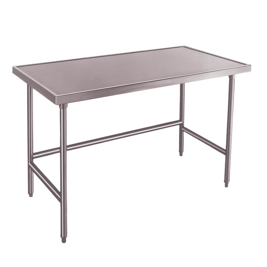 """Advance Tabco TVLG-3012 144"""" 14 ga Work Table w/ Open Base & 304 Series Stainless Marine Top"""