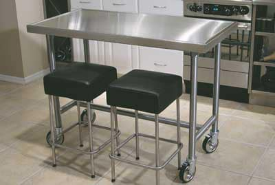 """Advance Tabco TVSS-245RE 60"""" Residential Chef Table - Bullet Feet, Non-Drip Edge, 14-ga 304-Stainless Top"""