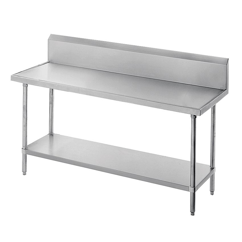 "Advance Tabco VKG-3612 144"" 14-ga Work Table w/ Undershelf & 304-Series Stainless Marine Top, 10"" Backsplash"